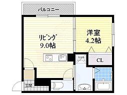 阪急宝塚本線 岡町駅 徒歩5分の賃貸マンション 3階1LDKの間取り