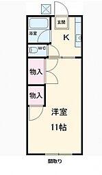 コーポ東中新宿[1階]の間取り