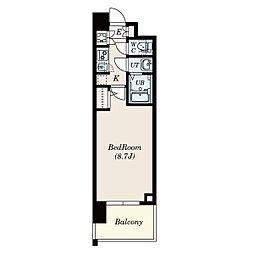 名古屋市営東山線 本郷駅 徒歩8分の賃貸マンション 3階1Kの間取り