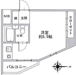阪急京都本線 上新庄駅 徒歩9分の賃貸マンション 2階ワンルームの間取り