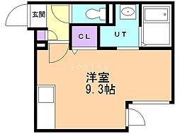 FERIO AKI 4階ワンルームの間取り