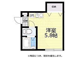 京王井の頭線 井の頭公園駅 徒歩7分の賃貸アパート 1階ワンルームの間取り
