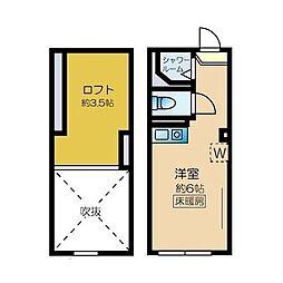 ネクサス新宿 戸山公園 1階ワンルームの間取り