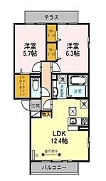 (仮) D-room朝霞市膝折町2丁目[1階]の間取り