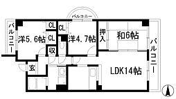 グレース門戸荘[4階]の間取り