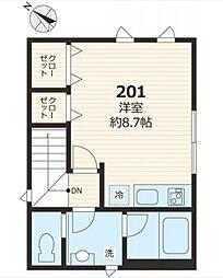 テイクメゾン江古田 2階ワンルームの間取り