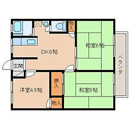 奈良県生駒市萩原町の賃貸アパートの間取り