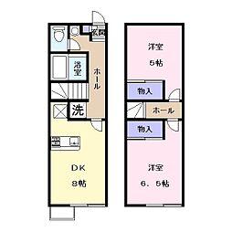 奈良県天理市富堂町の賃貸アパートの間取り