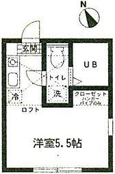 ハーミットクラブハウス岡沢町B棟[201号室]の間取り