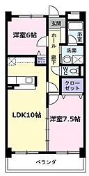 愛知県名古屋市天白区島田2丁目の賃貸マンションの間取り