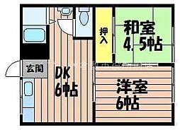連島コーポ[1階]の間取り