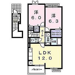 福岡県北九州市八幡西区馬場山の賃貸アパートの間取り