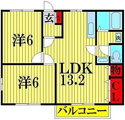 ニューシティ杉田NO2[202号室]の間取り