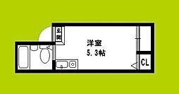 JPアパートメント大阪谷町 5階ワンルームの間取り