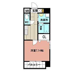 仮称)折尾4丁目賃貸マンション 7階1Kの間取り
