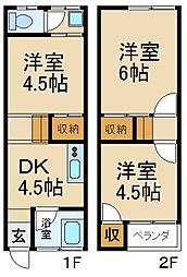 [テラスハウス] 大阪府枚方市南中振2丁目 の賃貸【/】の間取り