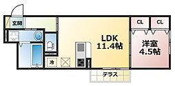 兵庫県神戸市灘区青谷町4丁目の賃貸アパートの間取り