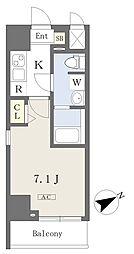 都営新宿線 本八幡駅 徒歩1分の賃貸マンション 8階1Kの間取り