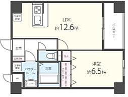 西鉄天神大牟田線 櫛原駅 徒歩5分の賃貸マンション 6階1LDKの間取り
