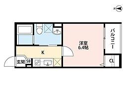 近鉄南大阪線 針中野駅 徒歩11分の賃貸アパート 3階1Kの間取り