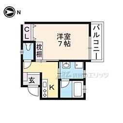 阪急京都本線 桂駅 徒歩5分の賃貸アパート 2階1Kの間取り