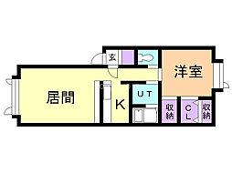 クオーレ 1階1LDKの間取り