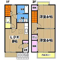 東京都西多摩郡日の出町大字大久野の賃貸アパートの間取り