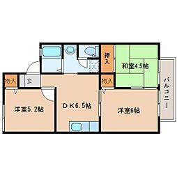 JR桜井線 長柄駅 徒歩18分の賃貸アパート 2階3DKの間取り