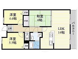 阪急千里線 千里山駅 徒歩13分の賃貸マンション 2階3LDKの間取り