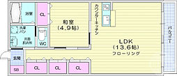 仙台市営南北線 北四番丁駅 徒歩18分の賃貸アパート 3階1LDKの間取り
