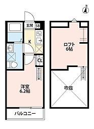 JR埼京線 与野本町駅 徒歩8分の賃貸アパート 2階1Kの間取り