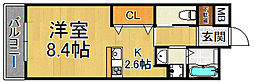 武庫川スクエア 2階ワンルームの間取り