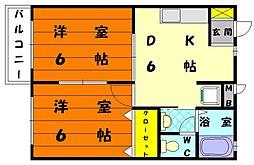 プラージュ唐原[2階]の間取り