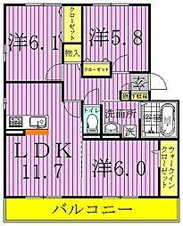 ジン ハウス A[301号室]の間取り