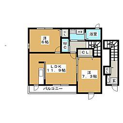 静岡県富士宮市田中町の賃貸アパートの間取り