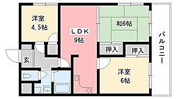 兵庫県尼崎市大島1丁目の賃貸マンションの間取り