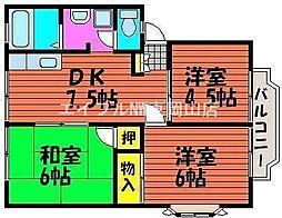 岡山県岡山市東区西大寺射越丁目なしの賃貸アパートの間取り