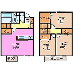 [テラスハウス] 三重県津市藤方 の賃貸【/】の間取り