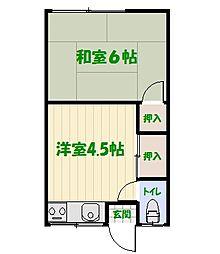 森田荘[202号室]の間取り