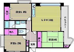 兵庫県芦屋市西蔵町の賃貸マンションの間取り