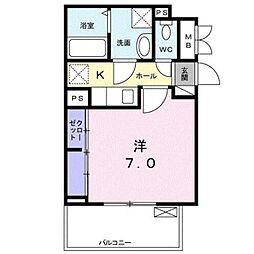 埼玉高速鉄道 鳩ヶ谷駅 徒歩6分の賃貸アパート 3階1Kの間取り