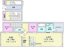 Taki Reiwa 3階1LDKの間取り