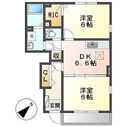 JR瀬戸大橋線 木見駅 徒歩14分の賃貸アパート 1階2DKの間取り