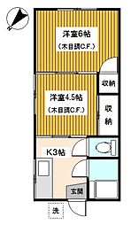 神奈川県川崎市多摩区登戸の賃貸アパートの間取り
