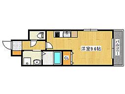 JR東海道・山陽本線 六甲道駅 徒歩14分の賃貸マンション 3階ワンルームの間取り