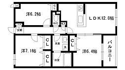 ノブレ甲子園口[202号室]の間取り