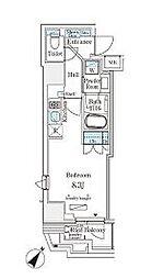東京メトロ日比谷線 小伝馬町駅 徒歩4分の賃貸マンション 11階ワンルームの間取り