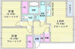 JR東北本線 南仙台駅 徒歩23分の賃貸アパート 2階2LDKの間取り