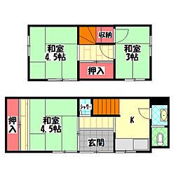 京阪本線 土居駅 徒歩9分の賃貸一戸建て 1階3Kの間取り