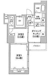 アイル プレミアム文京六義園 6階2DKの間取り